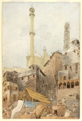 Smaller mosque of Aurangzeb, with the north minaret covered with scaffolding [Varanasi]